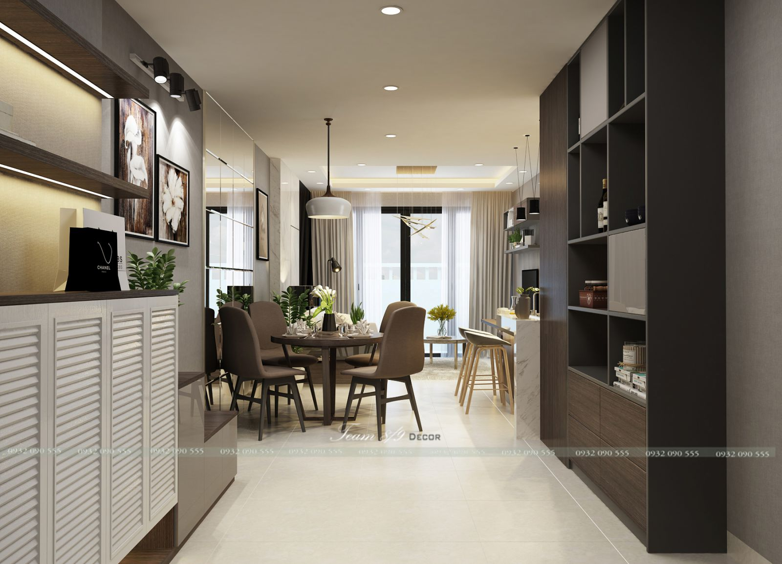 Thiết kế nội thất phòng khách bếp